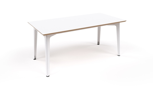 An all-white naughtone Fold Bar Height Table, viewed from above and at an angle.