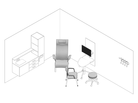 A line drawing - Exam Room 004