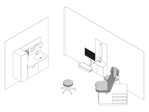 A line drawing - Exam Room 005