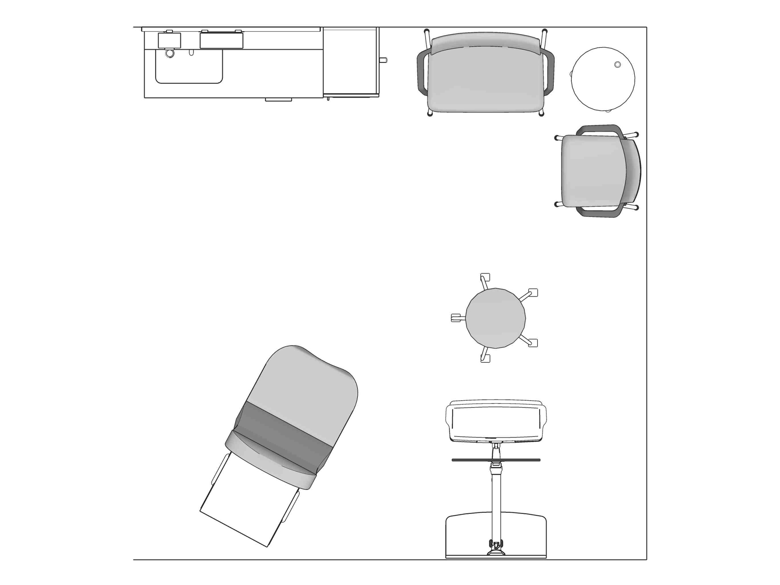 A line drawing viewed from above - Exam Room 001
