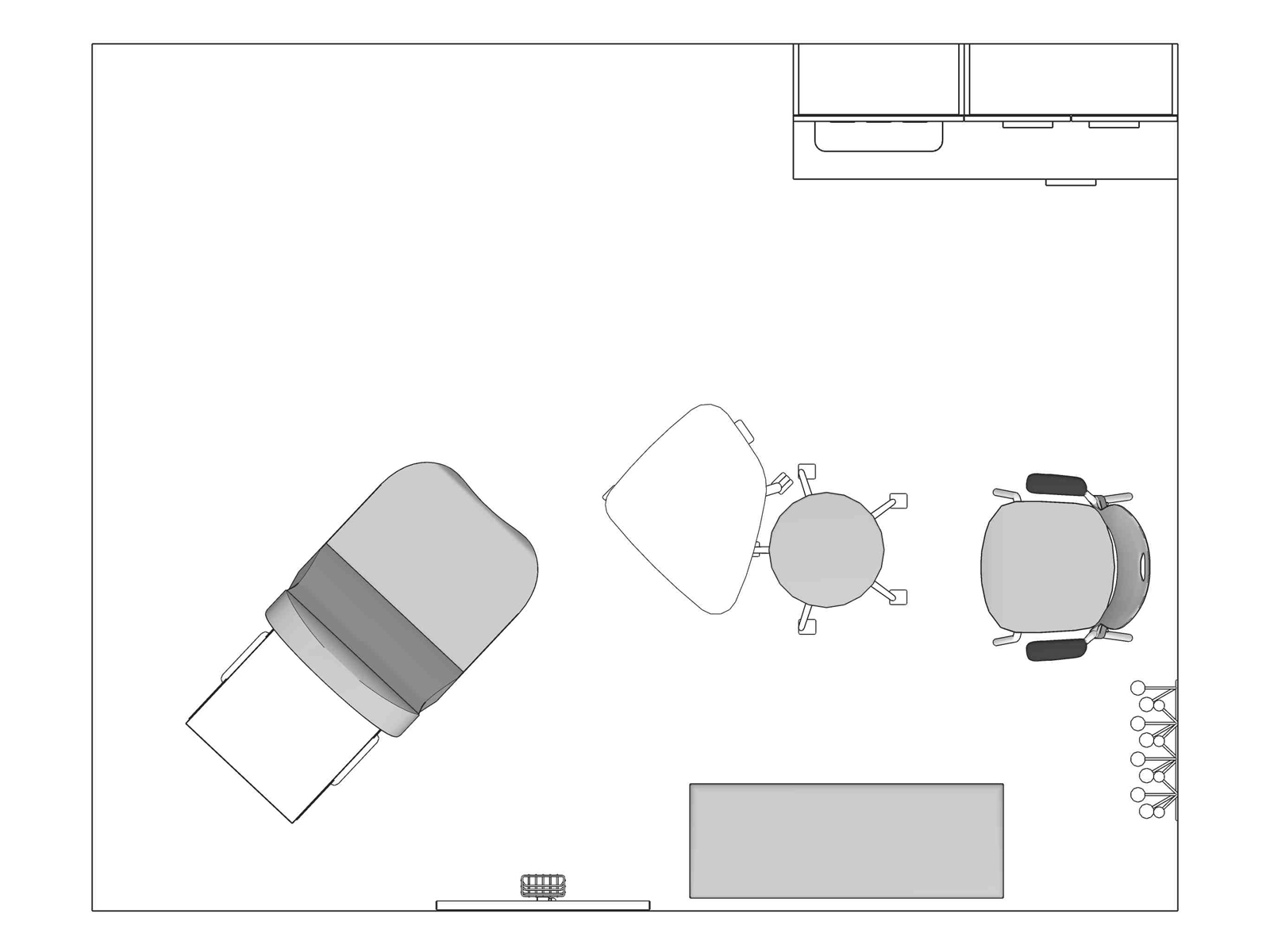 A line drawing viewed from above - Exam Room 009