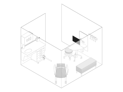 A line drawing - Exam Room 010