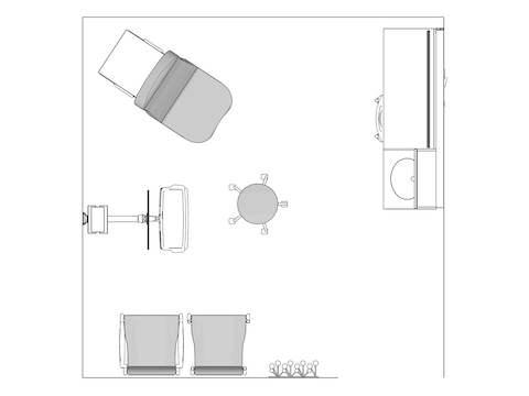 A line drawing viewed from above - Exam Room 011
