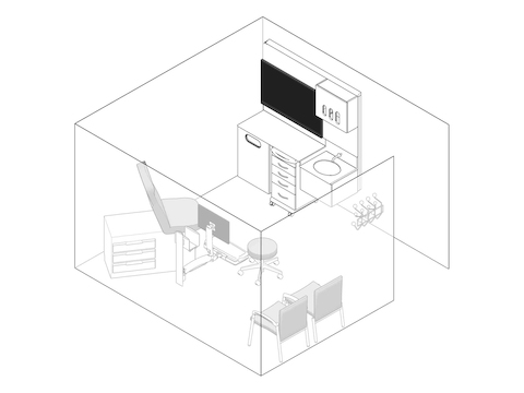 A line drawing - Exam Room 011