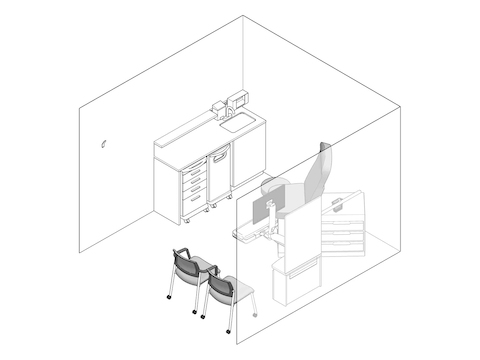 A line drawing - Exam Room 012