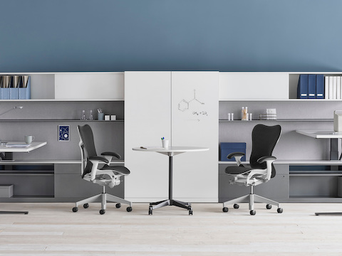 A shared Canvas Private Office with white and grey storage, height adjustable desks, and black Mirra 2 chairs.