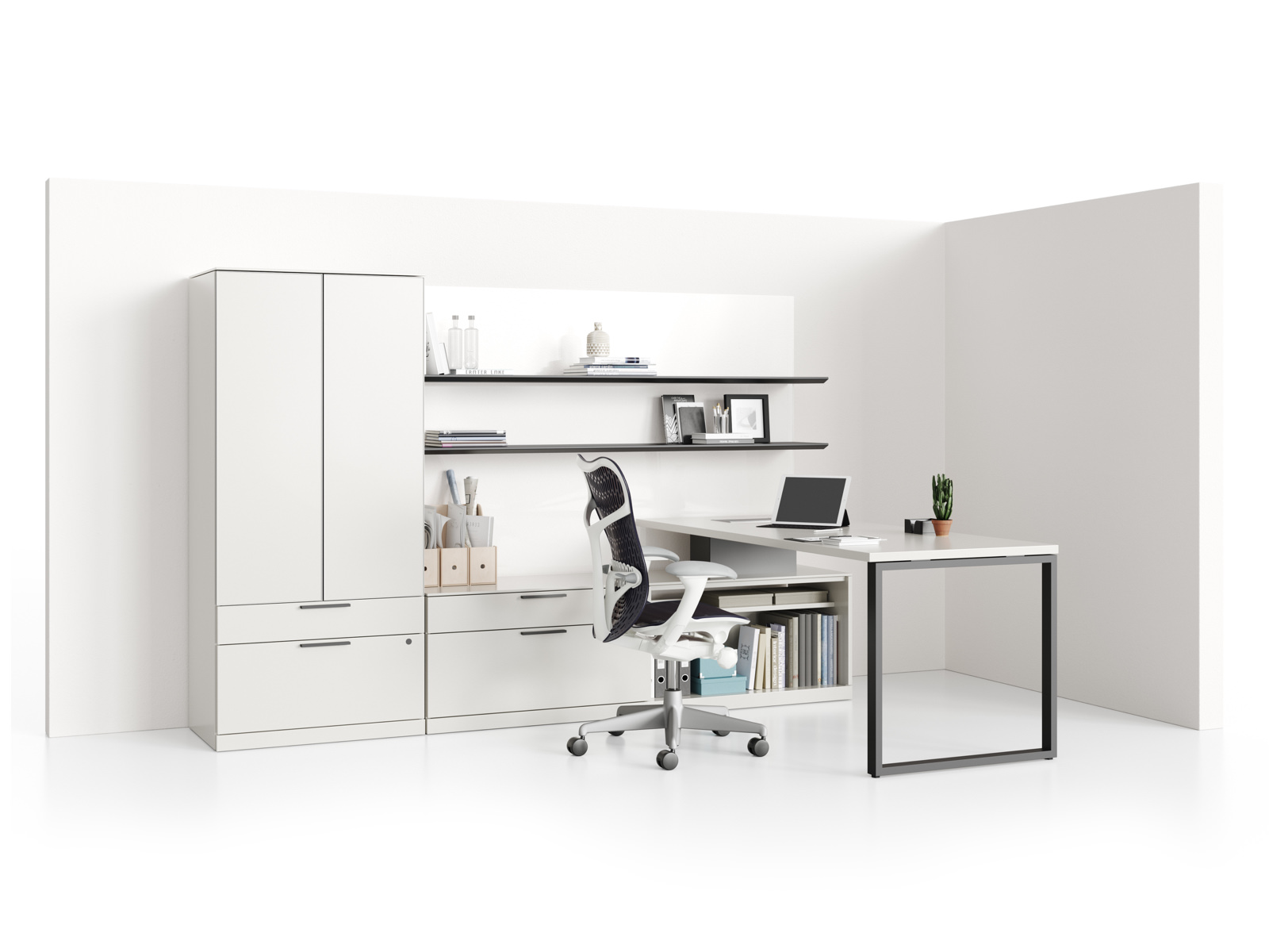 A Canvas Private Office with a white peninsula surface, white storage components, two aluminum floating shelves, and a black Mirra 2 office chair.