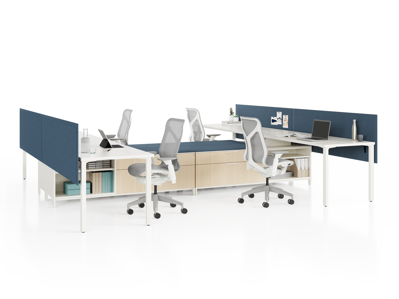 Group of four Canvas Storage workstations with white surfaces, blue screens, and grey Cosm Chairs.