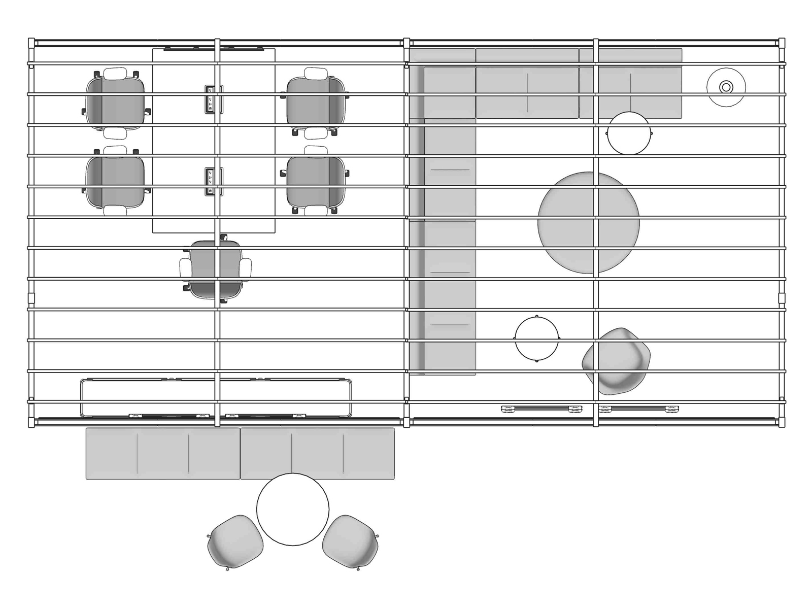 A line drawing viewed from above - Library 003