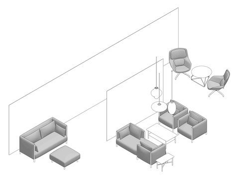 A line drawing - A Working Living Room
