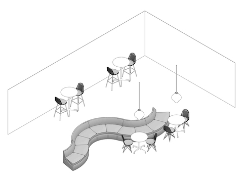 A line drawing - Lobby to Lounge