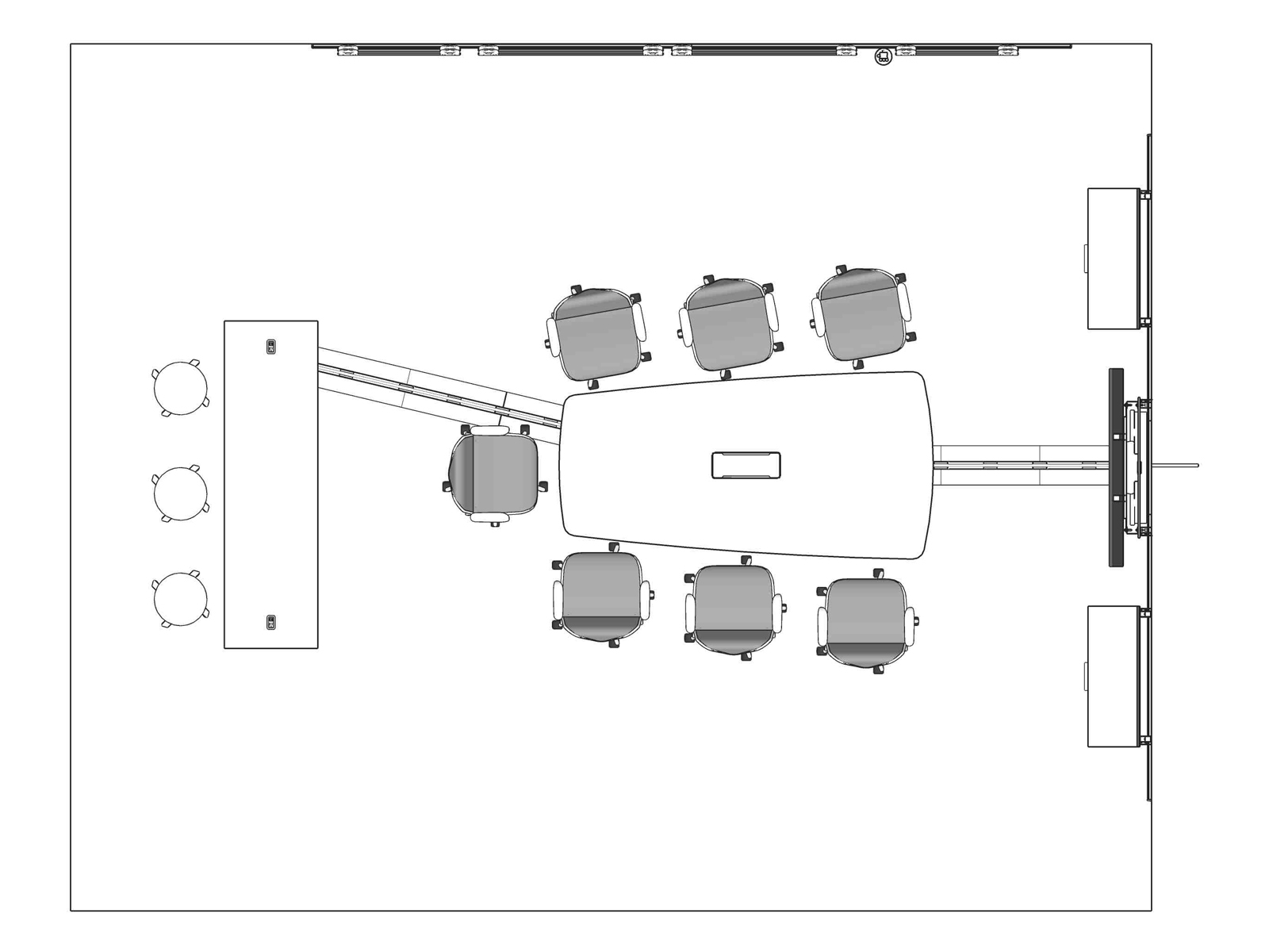 A line drawing viewed from above - Meeting Space 021