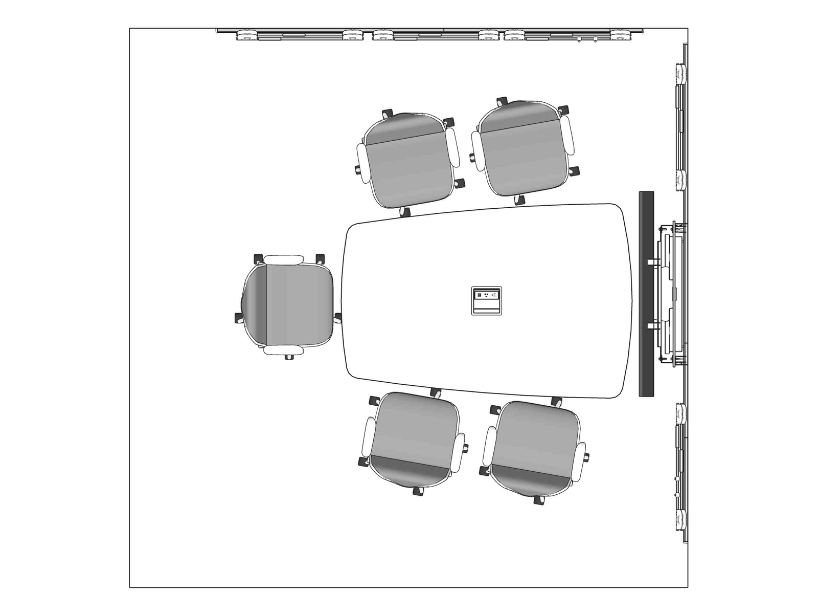 A line drawing viewed from above - Meeting Space 022