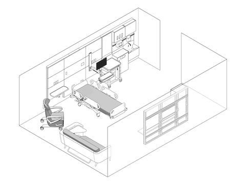 A line drawing - Patient Room 001