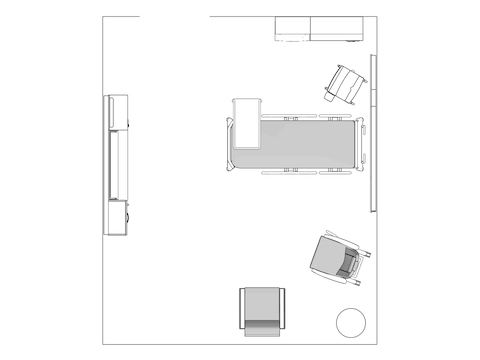 A line drawing viewed from above - Patient Room 002