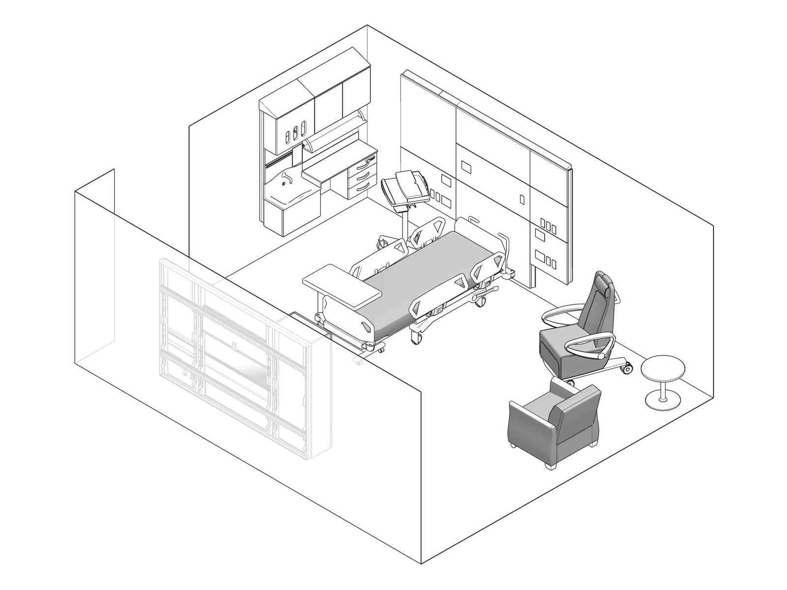 A line drawing - Patient Room 002