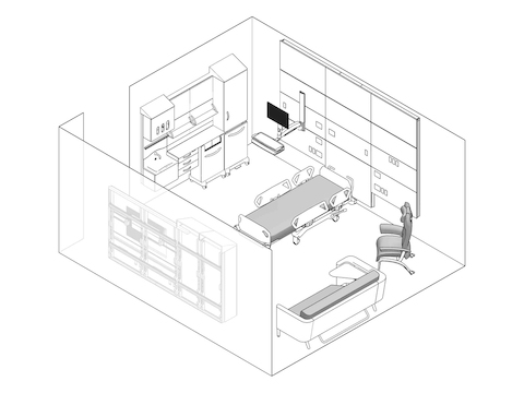 A line drawing - Patient Room 003