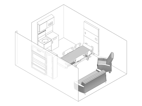 A line drawing - Patient Room 004