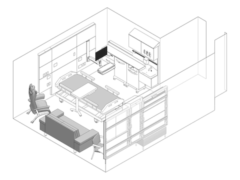 A line drawing - Patient Room 007