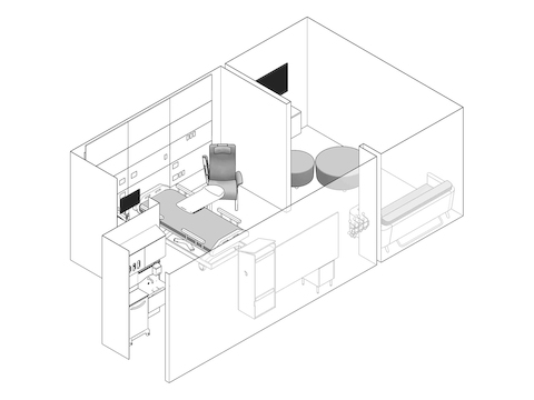 A line drawing - Patient Room 009