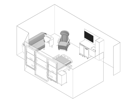 A line drawing - Patient Room 010