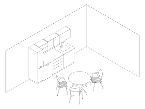 A line drawing - Staff Lounge 003