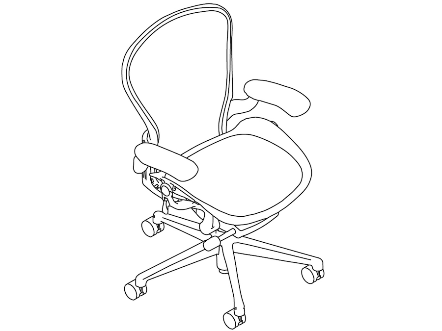 A line drawing - Aeron Chair–B Size–Fixed Arms