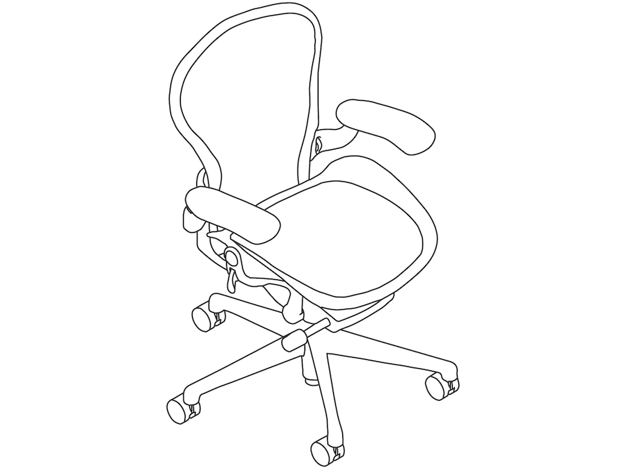 A line drawing - Aeron Chair–B Size–Height Adjustable Arms