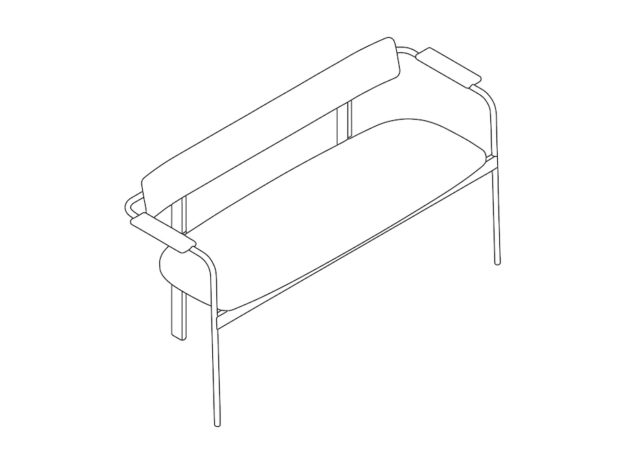 A line drawing - Betwixt Bench–Upholstered