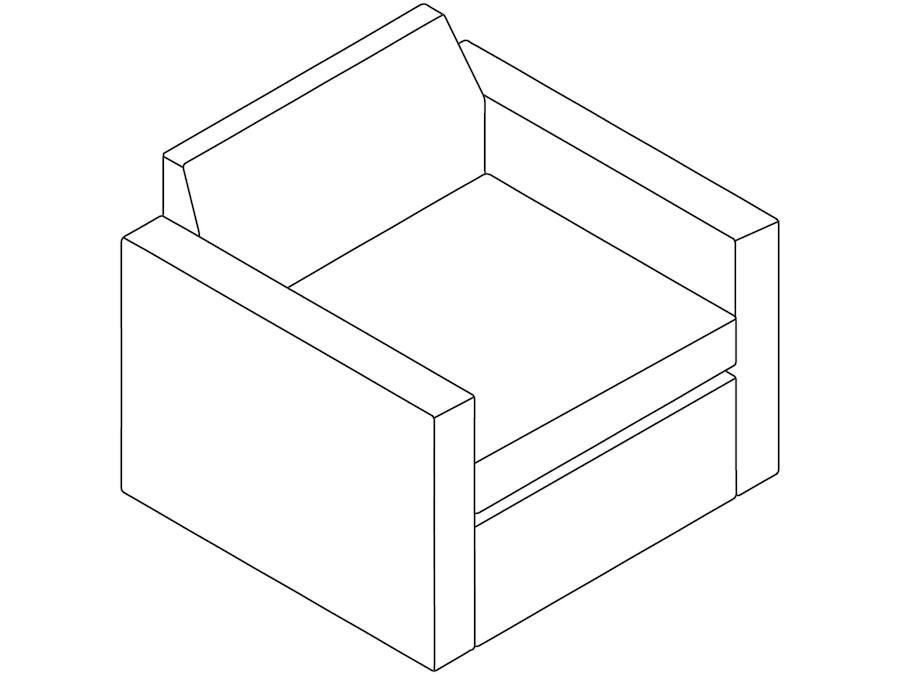 A line drawing - Bevel Club Chair