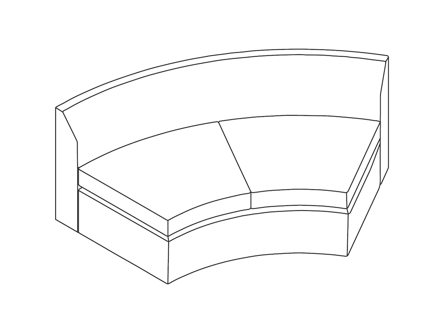 A line drawing - Bevel Curved Settee–Inside Curve