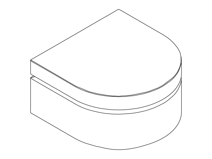 A line drawing - Bevel Ottoman–Rounded