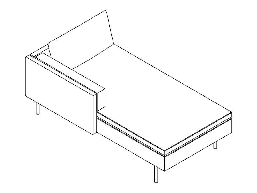 A line drawing - Bolster Chaise