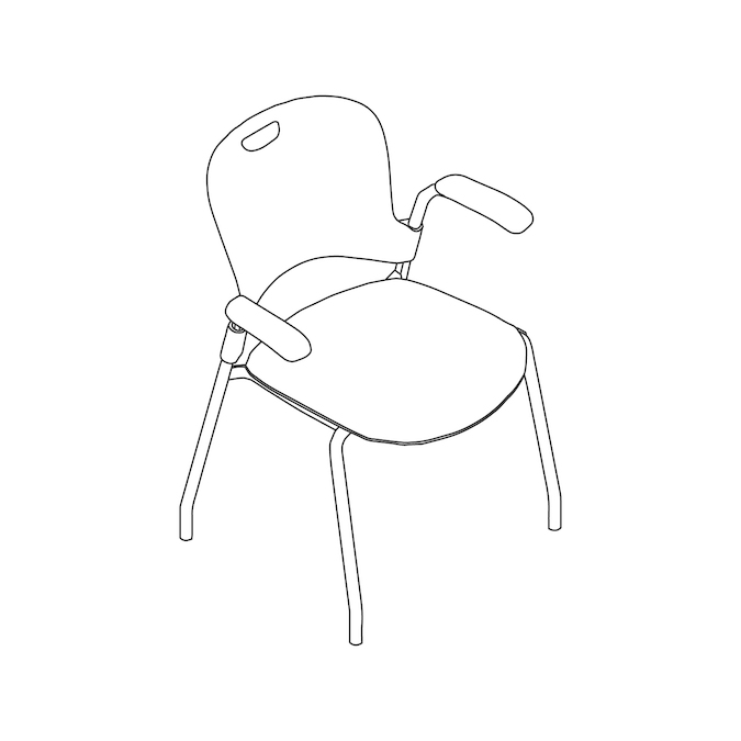 A line drawing - Caper Stacking Chair–Fixed Arms