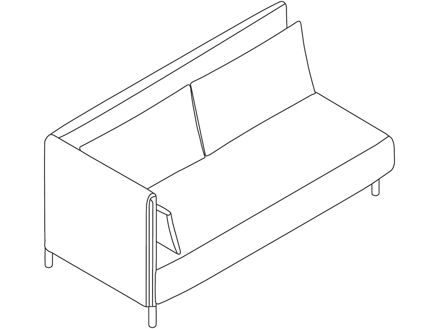 A line drawing - ColourForm Sofa–2 Seat–Right Arm