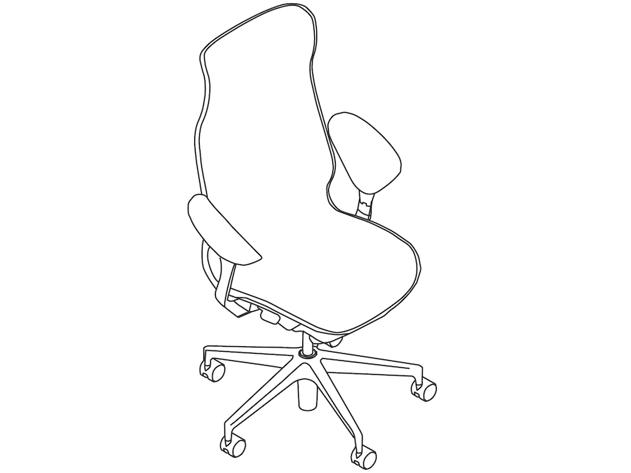 A line drawing - Cosm Chair–High Back–Leaf Arms