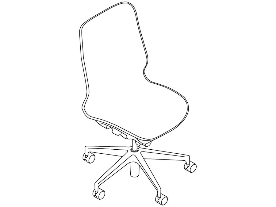 A line drawing - Cosm Chair–Mid Back–Armless