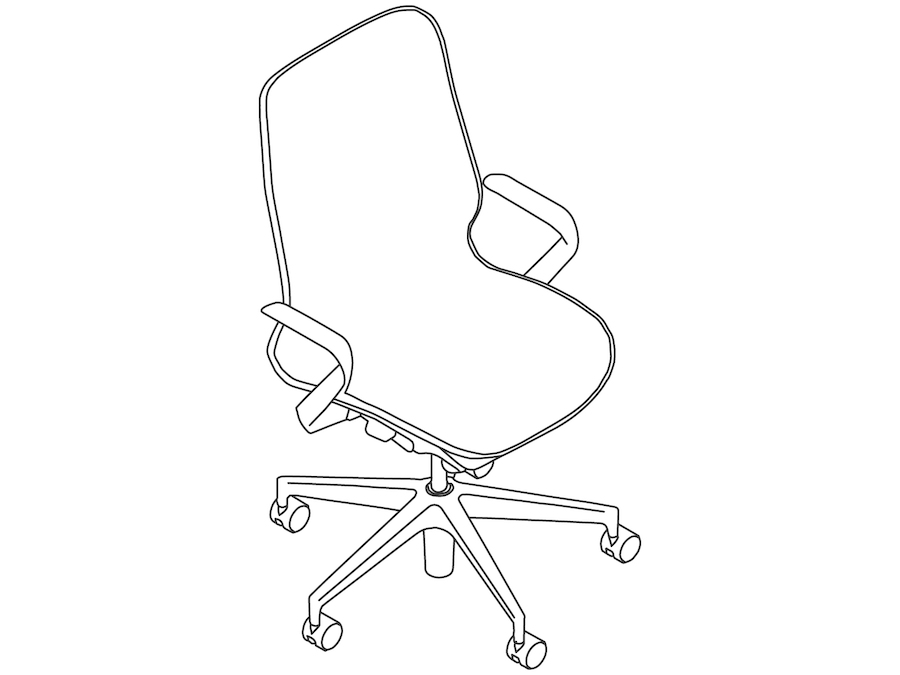 A line drawing - Cosm Chair–Mid Back–Fixed Arms
