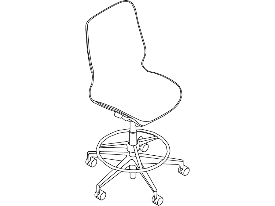 A line drawing - Cosm Stool–Mid Back–Armless