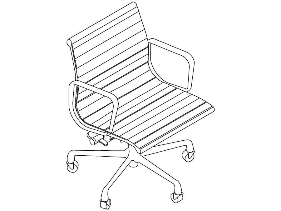 A line drawing - Eames Aluminum Group Chair–Management–With Arms
