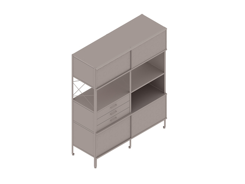 A generic rendering - Eames Storage Unit–4 High by 2 Wide