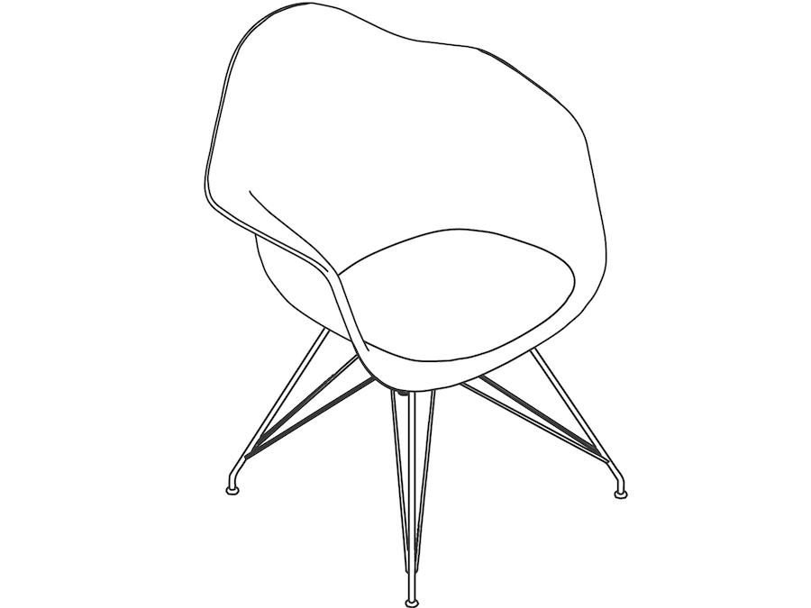A line drawing - Eames Moulded Fibreglass Armchair–Wire Base–Upholstered Seat Pad