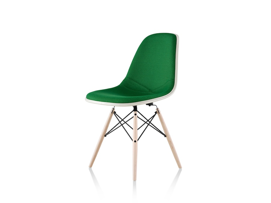 A photo - Eames Moulded Fibreglass Side Chair–Dowel Base–Fully Upholstered