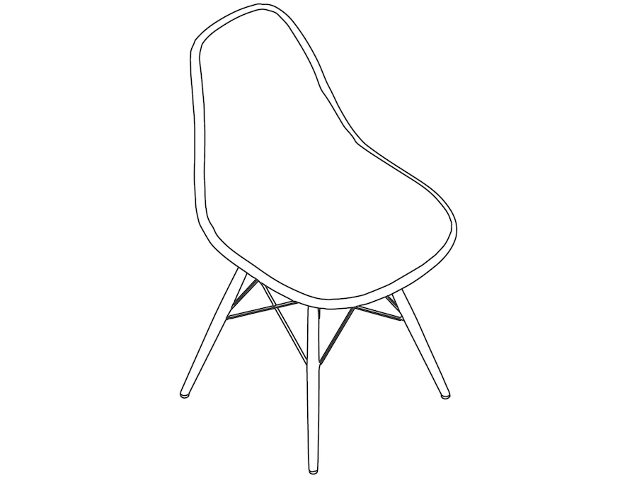 A line drawing - Eames Moulded Fibreglass Side Chair–Dowel Base–Fully Upholstered
