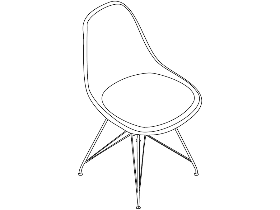 A line drawing - Eames Moulded Fibreglass Side Chair–Wire Base–Upholstered Seat Pad