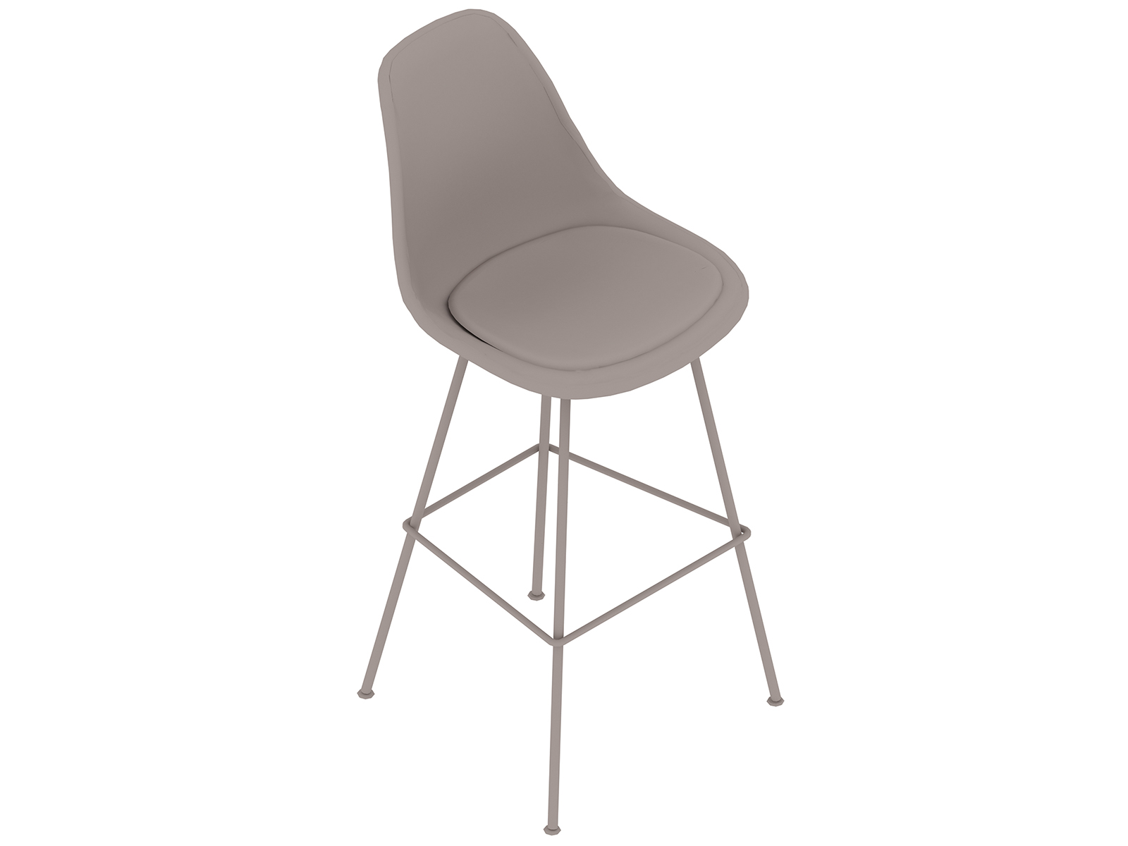 A generic rendering - Eames Moulded Fibreglass Stool–Bar Height–Upholstered Seat Pad
