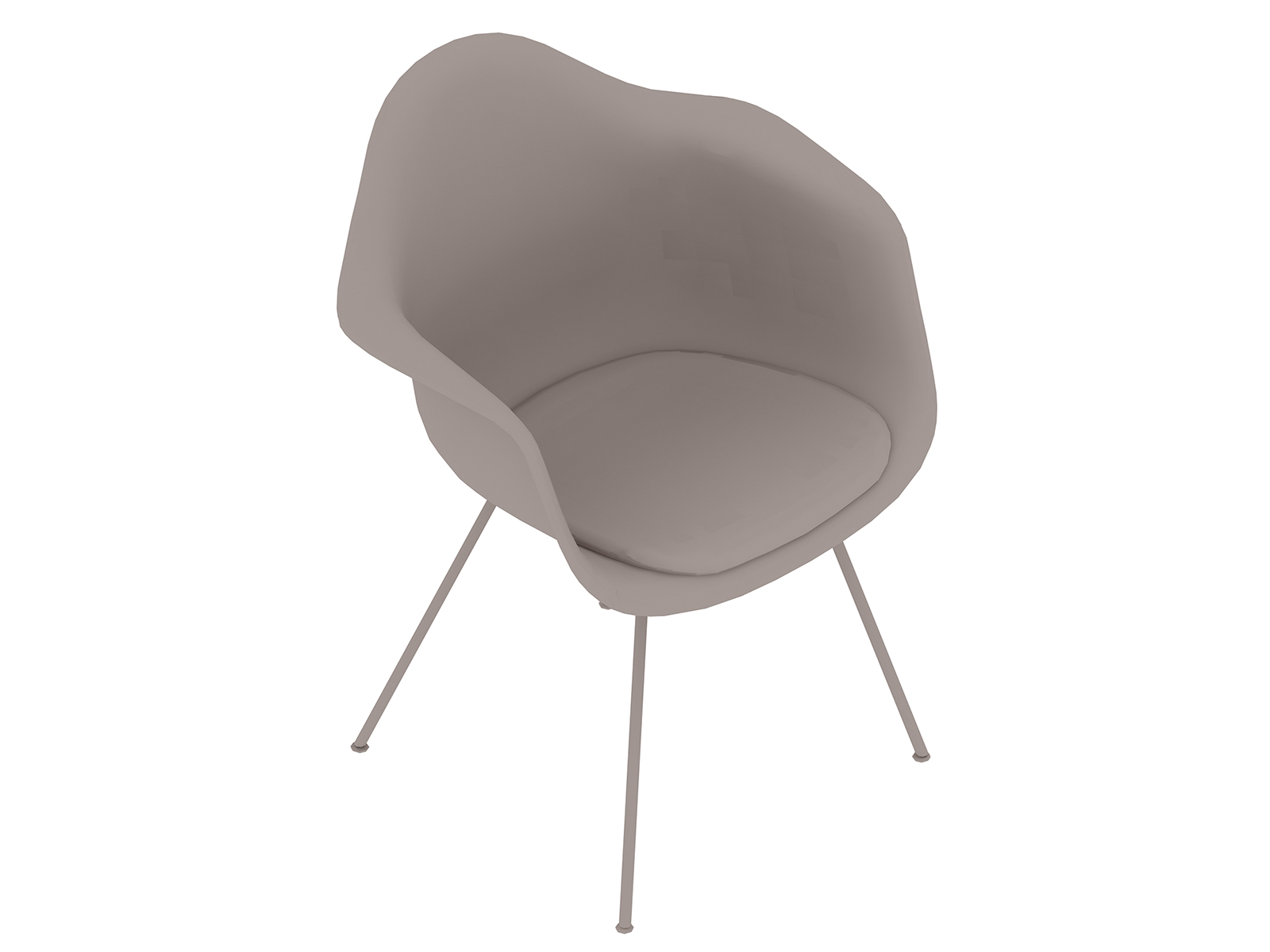 A generic rendering - Eames Moulded Plastic Armchair–4-Leg Base–Upholstered Seat Pad