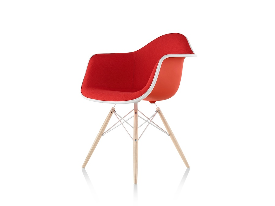 A photo - Eames Moulded Plastic Armchair–Dowel Base–Fully Upholstered
