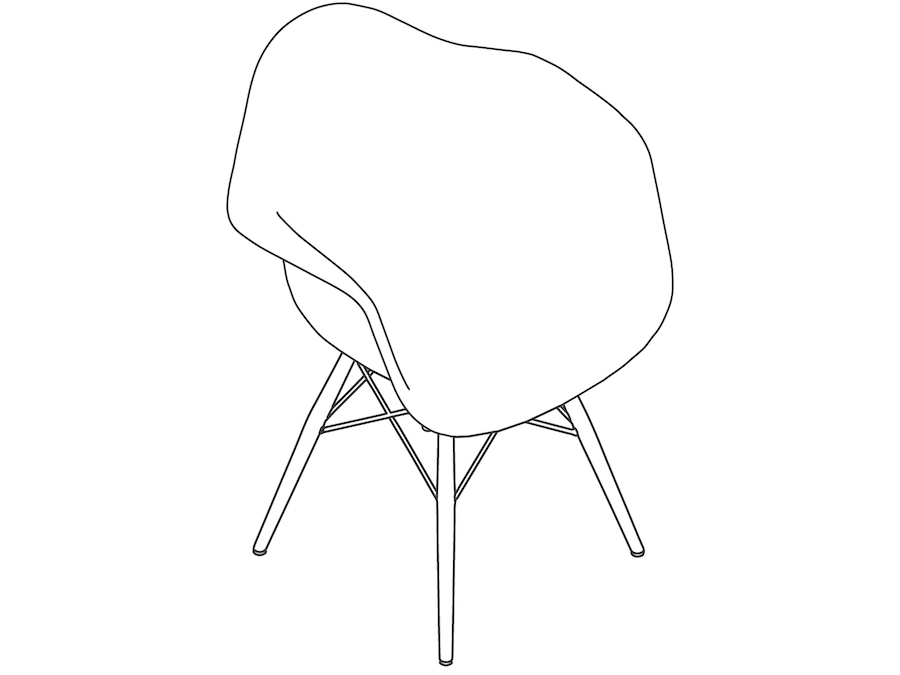 A line drawing - Eames Molded Plastic Armchair–Dowel Base–Nonupholstered