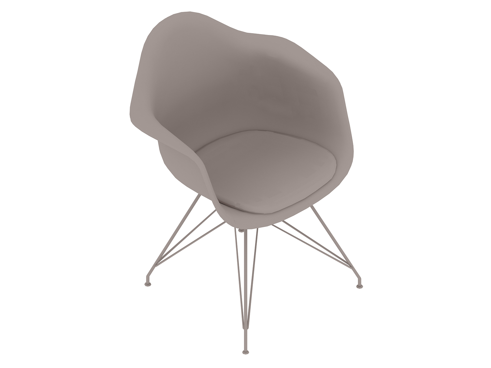 A generic rendering - Eames Moulded Plastic Armchair–Wire Base–Upholstered Seat Pad